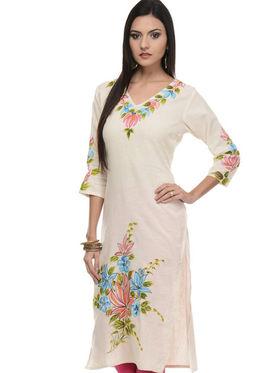 Lavennder Khadi Printed Kurti - Cream - LK-620120