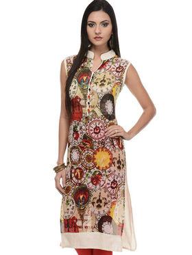 Lavennder Khadi Printed Kurti - Multicolor - LK-620131