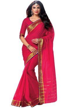 Ishin Cotton Plain Saree - Red - MFCS-Raisa