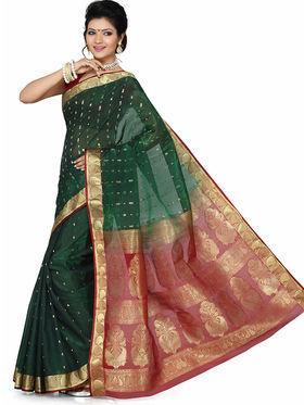 Ishin Art Silk Printed Saree - Green - SNGM-1873