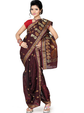 Ishin Poly Silk Printed Nauvari Saree - Maroon - SNGM-1880