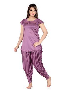 Ishin Satin Solid Nighty Set - Purple_SULDR-9418-A
