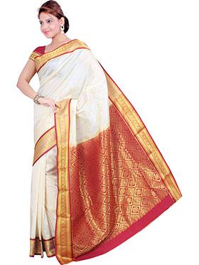 Ishin Embroidered Tana Silk Saree - White & Red