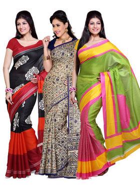 Combo of 3 Ishin Bhagalpuri Silk Printed Saree - Combo-384