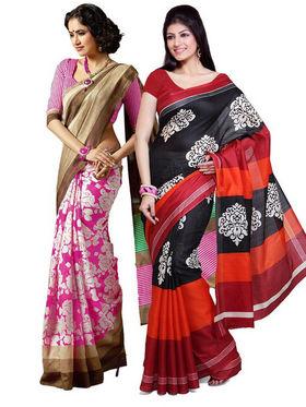 Combo of 2 Ishin Bhagalpuri Silk Printed Saree - Combo-386