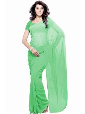 Khushali Fashion Georgette Plain Saree(Pista Green)_JAZZ501