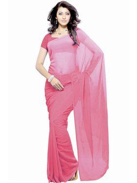 Khushali Fashion Georgette Plain Saree(Baby Pink)_JAZZ513