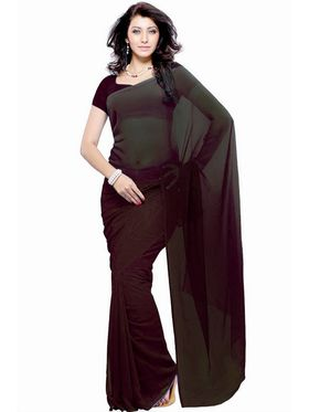 Khushali Fashion Georgette Plain Saree(Chocolate)_JAZZ582