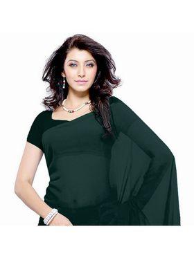 Khushali Fashion Georgette Plain Saree(Dark Olive)_JAZZ586