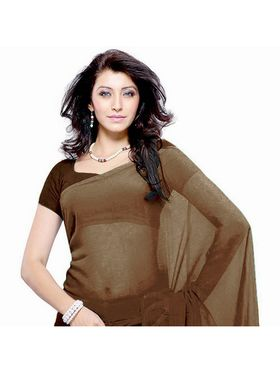 Khushali Fashion Georgette Plain Saree(Brown)_JAZZ590