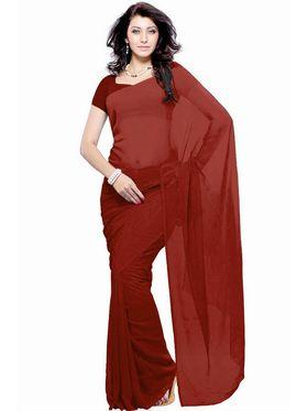 Khushali Fashion Georgette Plain Saree(Maroon)_JAZZ592