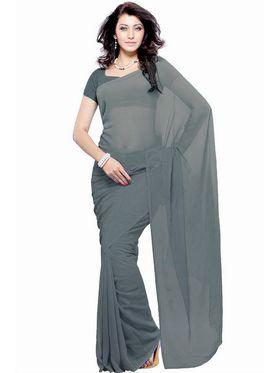 Khushali Fashion Georgette Plain Saree(Light Grey)_JAZZ594
