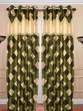 Set of 2 JBG Fancy Lace Check design Door Curtains - Green & Cream- JBG395
