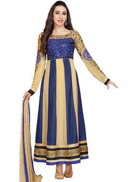 Javuli Georgette Embroidered  Dress Material - Blue - eliza-36001
