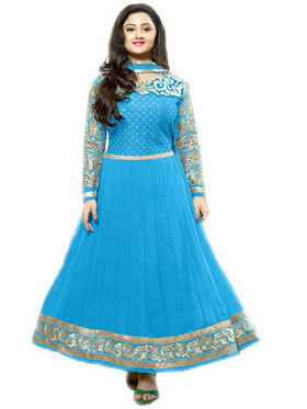 Javuli Georgette Embroidered  Dress Material - Blue - kavya-lightblue