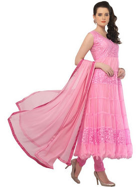 Javuli Georgette Embroidered  Dress Material - Pink - netplus-pink