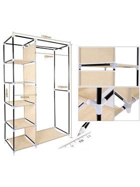 Kawachi Elegant Double-Sided Foldable Canvas Wardrobe_K1-Beige