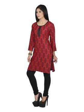 Arisha Crepe Printed Kurti KRT6085-Red