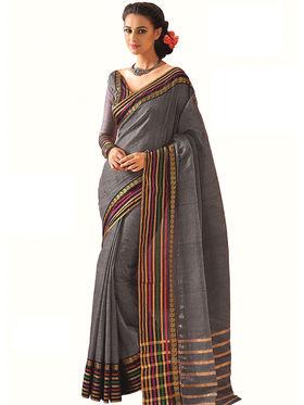 Nanda Silk Mills Plain Cotton Grey Saree -Keeya
