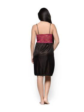 Klamotten Satin Solid Nightwear - Black - YY65