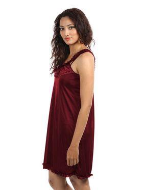 Klamotten Satin Solid Nightwear - Maroon - YY77