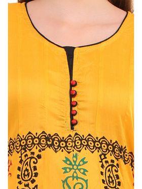 Kyla F Ryon Printed Kurti - Yellow - KYL5006