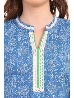 Kyla F Cotton Printed Kurti - Blue - KYL562