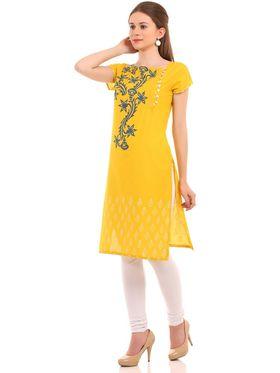 Kyla F Cotton Printed Kurti - Yellow - KYL580