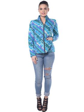 Lavennder Blue Printed Full Sleeve  Women Jacket - LJ-24029
