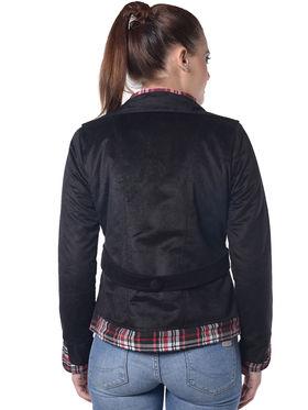 Lavennder Black Velvet Full Sleeve Women Jacket - LJ-24062