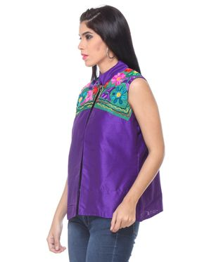 Lavennder Khadi Embroided Summer Jacket -LJ-24103