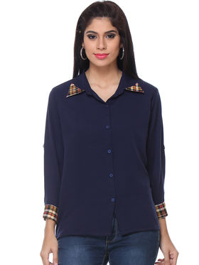 Combo of 5 Lavennder Crepe & Georgette Solid Ladies Shirts -la03