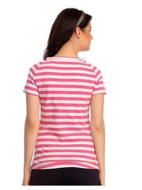 Clovia Cotton Striped T-Shirt -LT0103P18