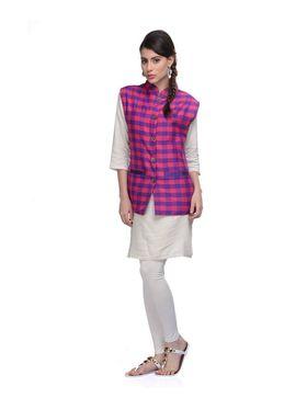 Lavennder Khadi-Cotton Nehru Jacket - Purple and Pink - 623406