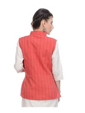Lavennder Khadi Plain Nehru Jacket - Red