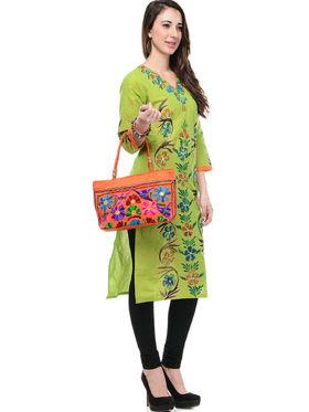Lavennder Cotton and Dupion Silk Printed Kurti with Hand Bag - LK-62015