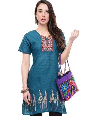 Lavennder Cotton and Dupion Silk Printed Kurti with Hand Bag - LK-62026