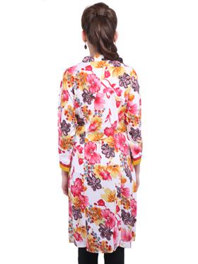 Lavennder Floral 3/4th Sleeves Cotton Kurti - White