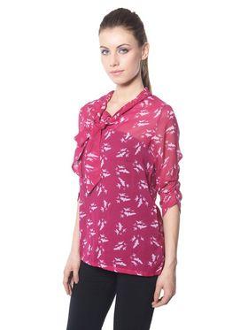 Meira Chiffon Printed Top - Hot Pink - MEWT-1020-R