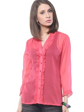 Meira-Chiffon-Solid-Top - Red - MEWT-1068-F