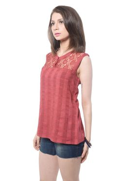Meira Cotton Solid Top - Maroon - MEWT-1165-D