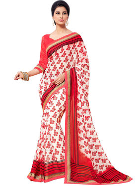 Nanda Silk Mills Cute Work Printed Saree With Blouse Piece Pure Georgette _MK-2406