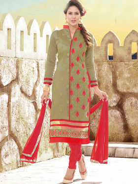 Viva N Diva Chanderi Silk Embroidered Unstitched Dress Material Mariyaam-1009