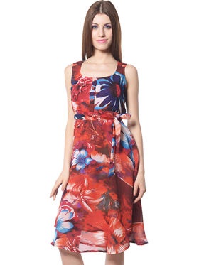 Meira Printed Chiffon Women's Dress - Multicolour _ MEWT-1022-Multi