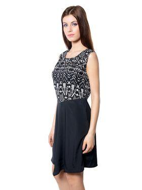 Meira Printed Crepe Women's Dress - Black _ MEWT-1181-Black