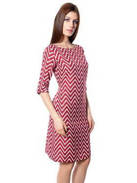 Meira Printed Crepe Women's Dress - Maroon _ MEWT-1189-A-Maroon