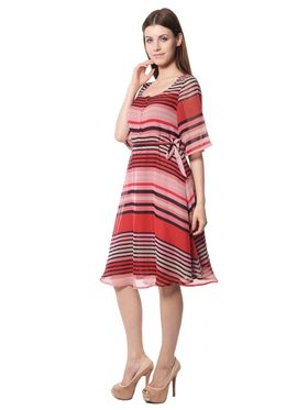 Meira Printed Chiffon Women's Dress - Red _ MEWT-1196-Red