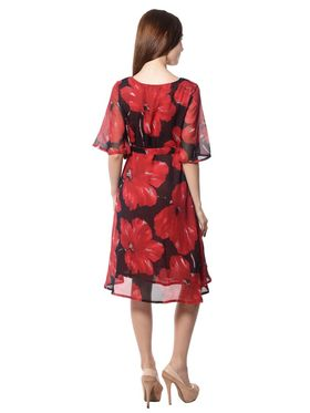 Meira Printed Chiffon Women's Dress - Red _ MEWT-1196-A-Red