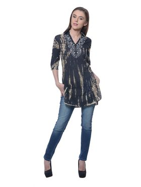 Meira Cambric Embroidered Kurti - Black - MEKUR-2013-A-Black
