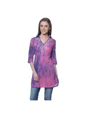 Meira Cambric Embroidered Kurti - Pink - MEKUR-2013-B-Pink